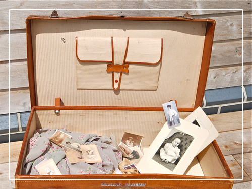 Vintage memories in a suitcase