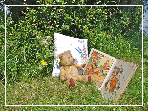 Teddy bear reading Enid Blyton