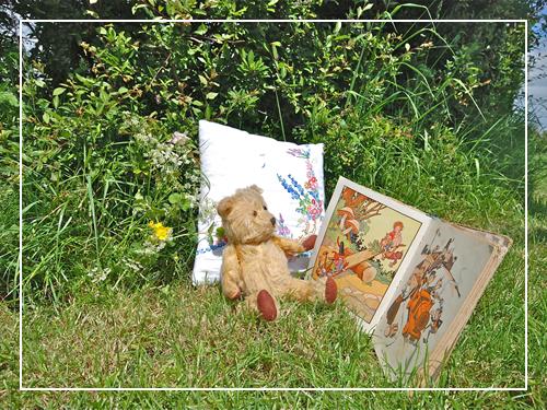 Teddy bear reading Enid Blyton
