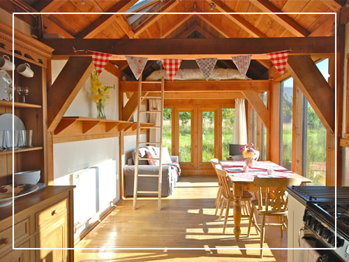 Sun drenched holiday cabin interior