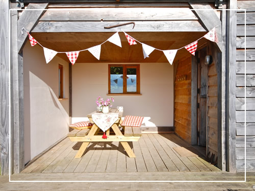 Picnic table and bunting
