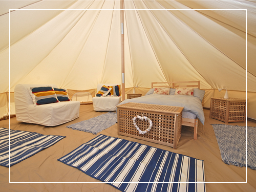 Glamping bell tent interior