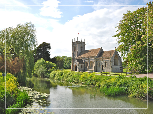 Local church and river