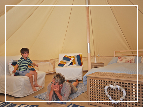 Camping bell tent interior